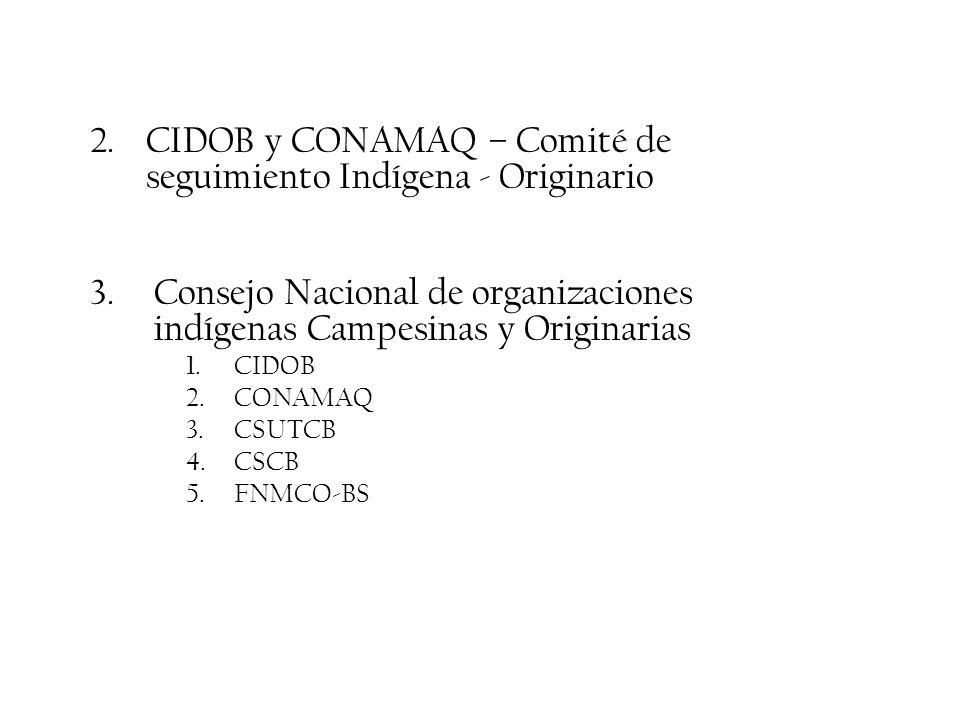 2.CIDOB y CONAMAQ – Comité de seguimiento Indígena - Originario 3.Consejo Nacional de organizaciones indígenas Campesinas y Originarias 1.CIDOB 2.CONA
