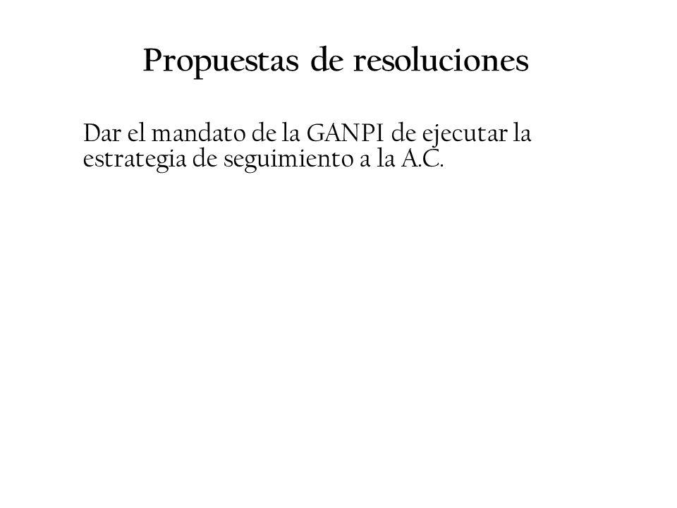 Propuestas de resoluciones Dar el mandato de la GANPI de ejecutar la estrategia de seguimiento a la A.C.