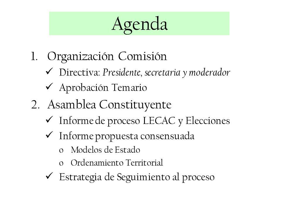 1.Organización Comisión Directiva: Presidente, secretaria y moderador Aprobación Temario 2.Asamblea Constituyente Informe de proceso LECAC y Eleccione