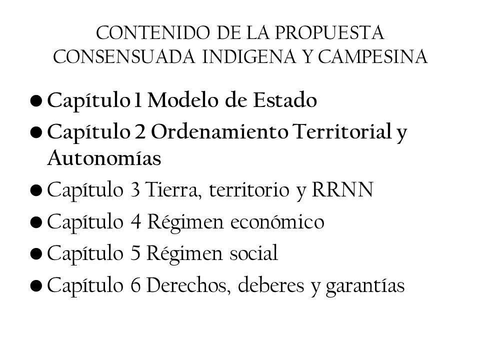 CONTENIDO DE LA PROPUESTA CONSENSUADA INDIGENA Y CAMPESINA Capítulo 1 Modelo de Estado Capítulo 2 Ordenamiento Territorial y Autonomías Capítulo 3 Tie