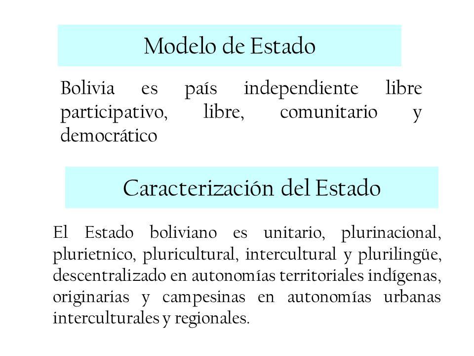 Modelo de Estado Bolivia es país independiente libre participativo, libre, comunitario y democrático Caracterización del Estado El Estado boliviano es