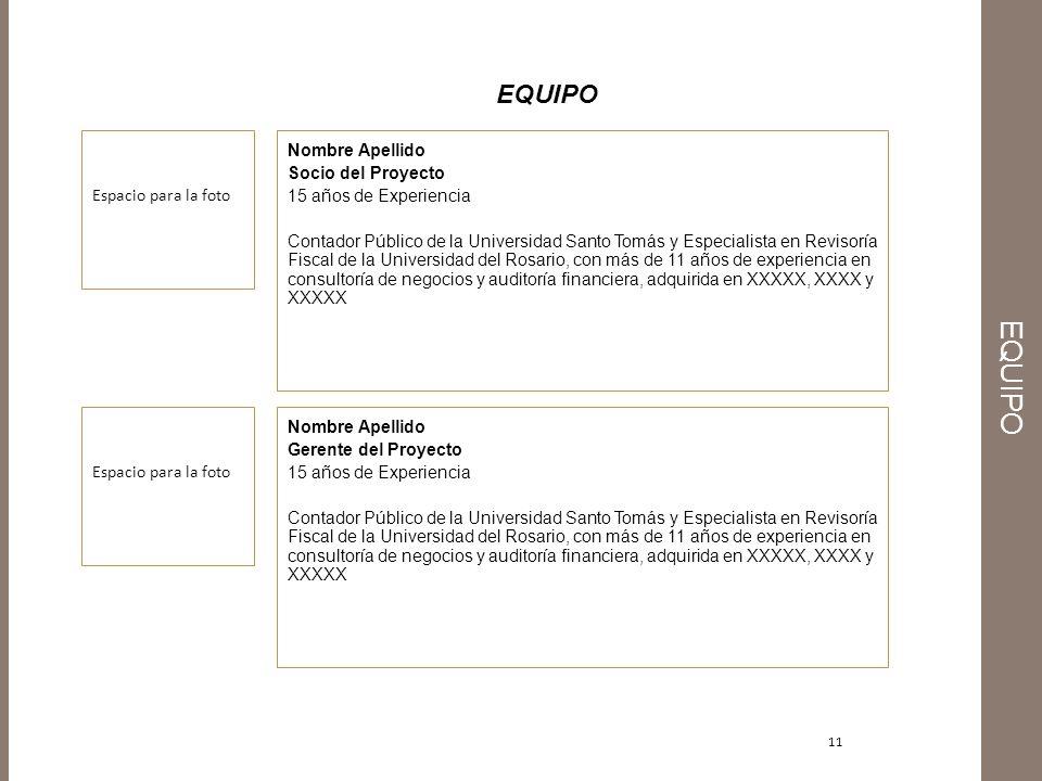 11 EQUIPO Nombre Apellido Socio del Proyecto 15 años de Experiencia Contador Público de la Universidad Santo Tomás y Especialista en Revisoría Fiscal
