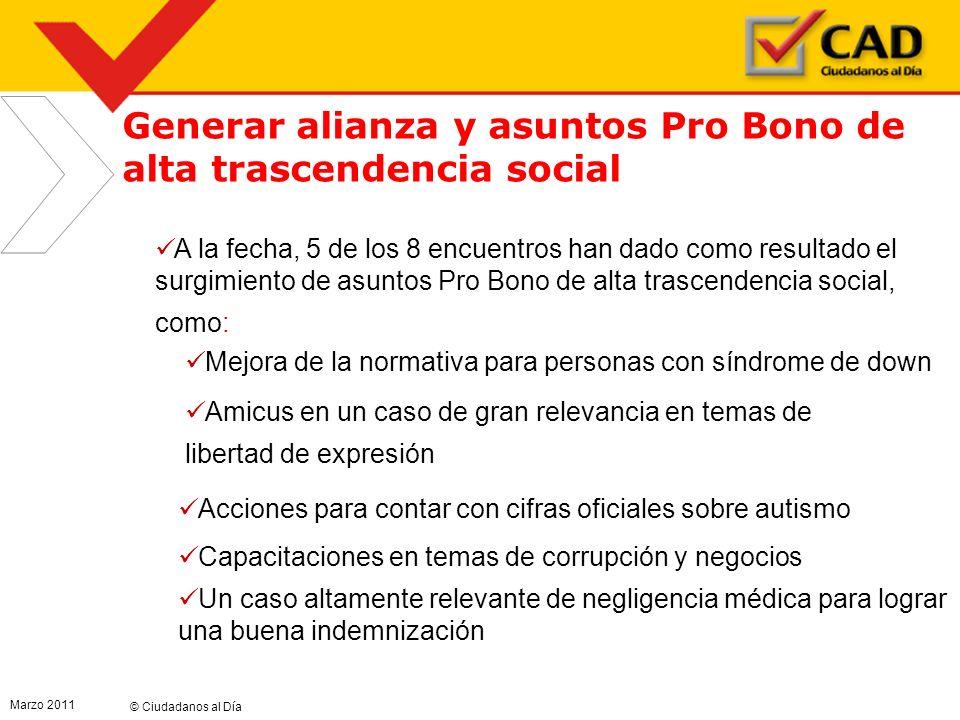 © Ciudadanos al Día Marzo 2011 4 4 Generar alianza y asuntos Pro Bono de alta trascendencia social A la fecha, 5 de los 8 encuentros han dado como res