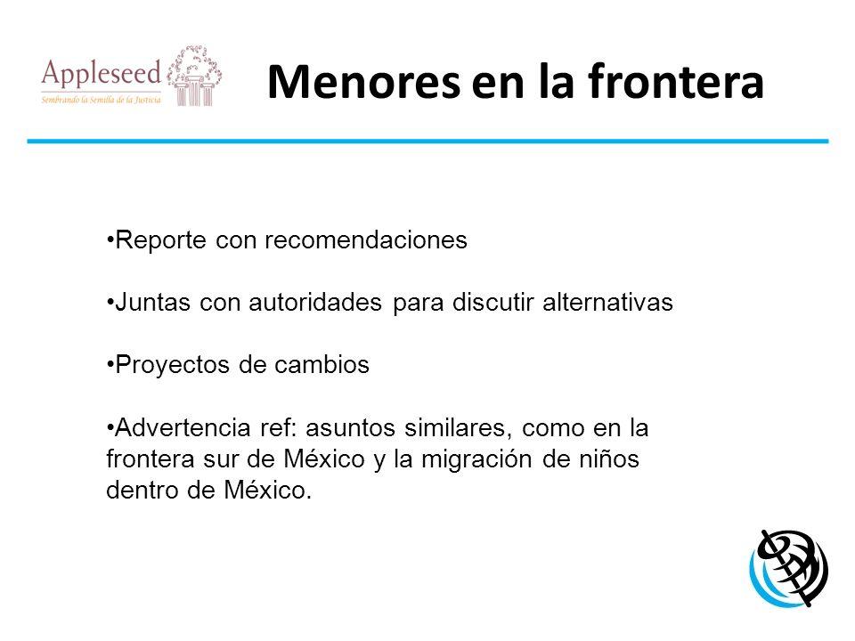 Menores en la frontera LOGO DE LA ORGANIZACIÓN Reporte con recomendaciones Juntas con autoridades para discutir alternativas Proyectos de cambios Adve