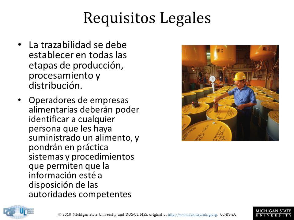 © 2010 Michigan State University and DQS-UL MSS, original at http://www.fskntraining.org, CC-BY-SA Requisitos Legales La trazabilidad se debe establecer en todas las etapas de producción, procesamiento y distribución.