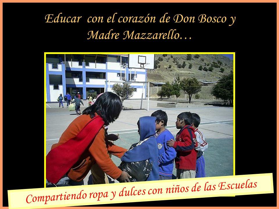Educar con el corazón de Don Bosco y Madre Mazzarello… Compartiendo ropa y dulces con niños de las Escuelas