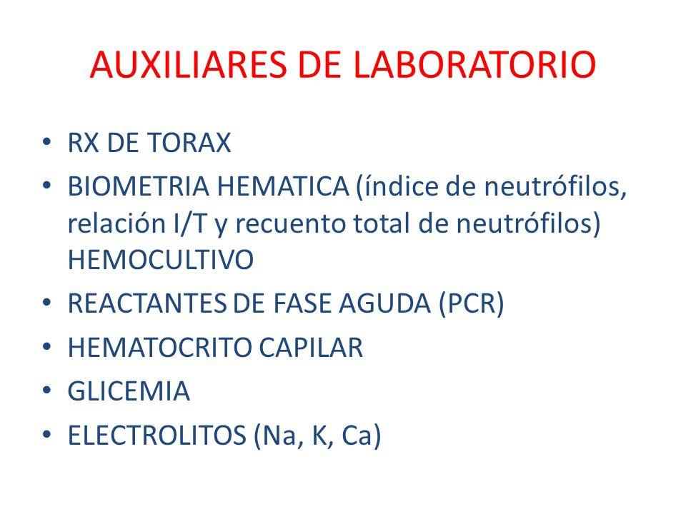 AUXILIARES DE LABORATORIO RX DE TORAX BIOMETRIA HEMATICA (índice de neutrófilos, relación I/T y recuento total de neutrófilos) HEMOCULTIVO REACTANTES