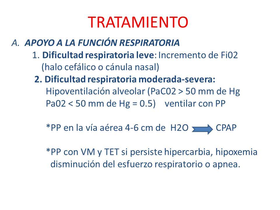 TRATAMIENTO A. APOYO A LA FUNCIÓN RESPIRATORIA 1. Dificultad respiratoria leve: Incremento de Fi02 (halo cefálico o cánula nasal) 2. Dificultad respir