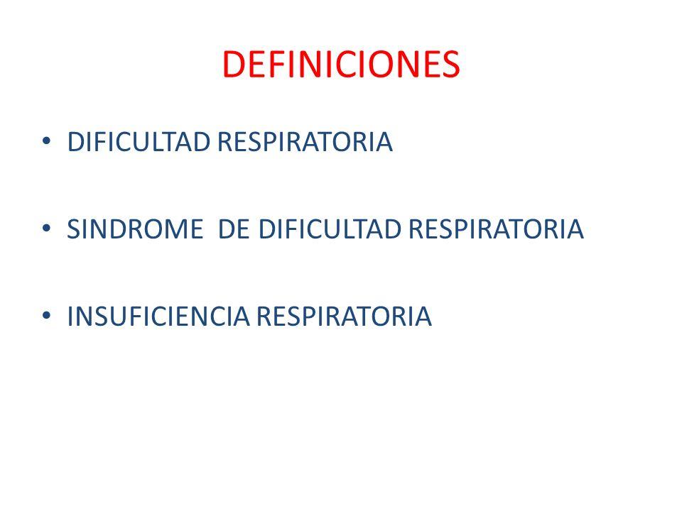 DEFINICIONES DIFICULTAD RESPIRATORIA SINDROME DE DIFICULTAD RESPIRATORIA INSUFICIENCIA RESPIRATORIA