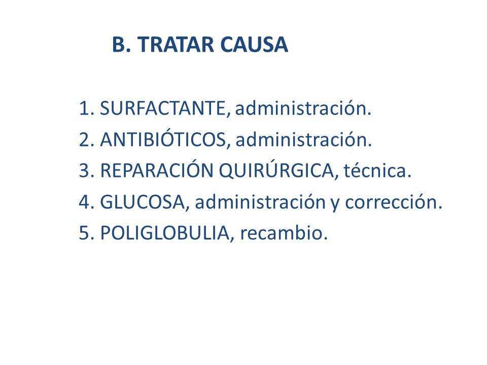 B. TRATAR CAUSA 1. SURFACTANTE, administración. 2. ANTIBIÓTICOS, administración. 3. REPARACIÓN QUIRÚRGICA, técnica. 4. GLUCOSA, administración y corre