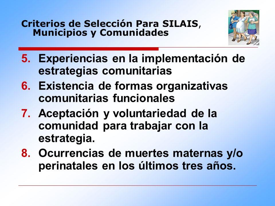 Experiencias en la implementación de estrategias comunitarias Existencia de formas organizativas comunitarias funcionales Aceptación y voluntariedad d