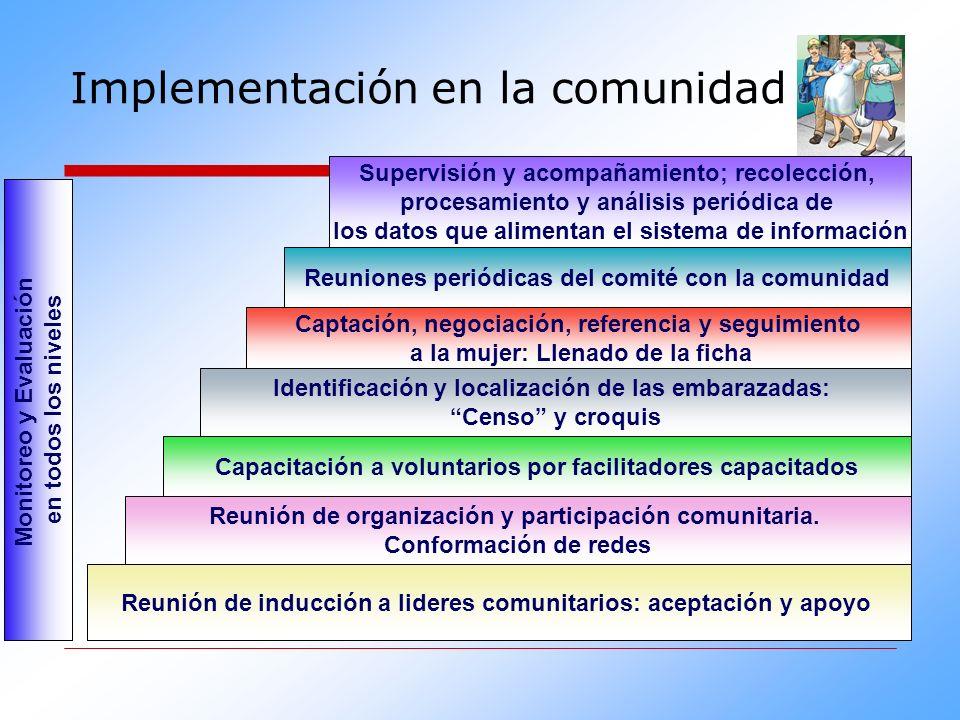 Implementación en la comunidad Supervisión y acompañamiento; recolección, procesamiento y análisis periódica de los datos que alimentan el sistema de