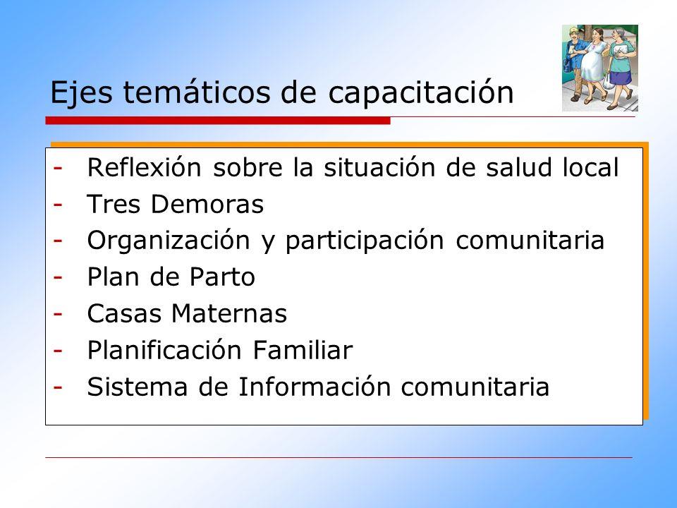 Ejes temáticos de capacitación -Reflexión sobre la situación de salud local -Tres Demoras -Organización y participación comunitaria -Plan de Parto -Ca