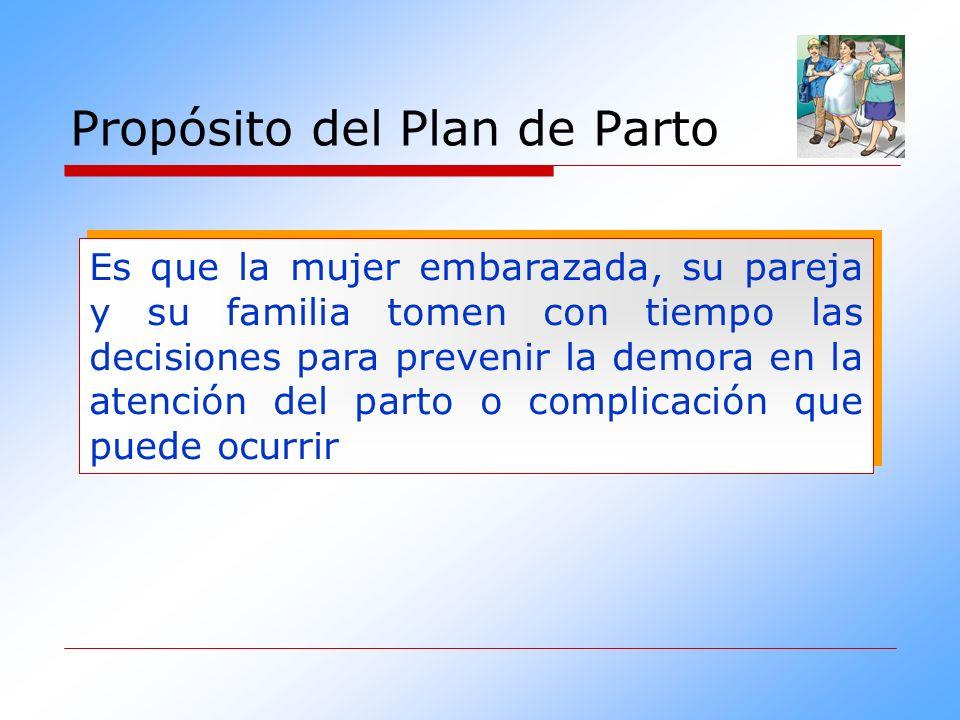 Propósito del Plan de Parto Es que la mujer embarazada, su pareja y su familia tomen con tiempo las decisiones para prevenir la demora en la atención