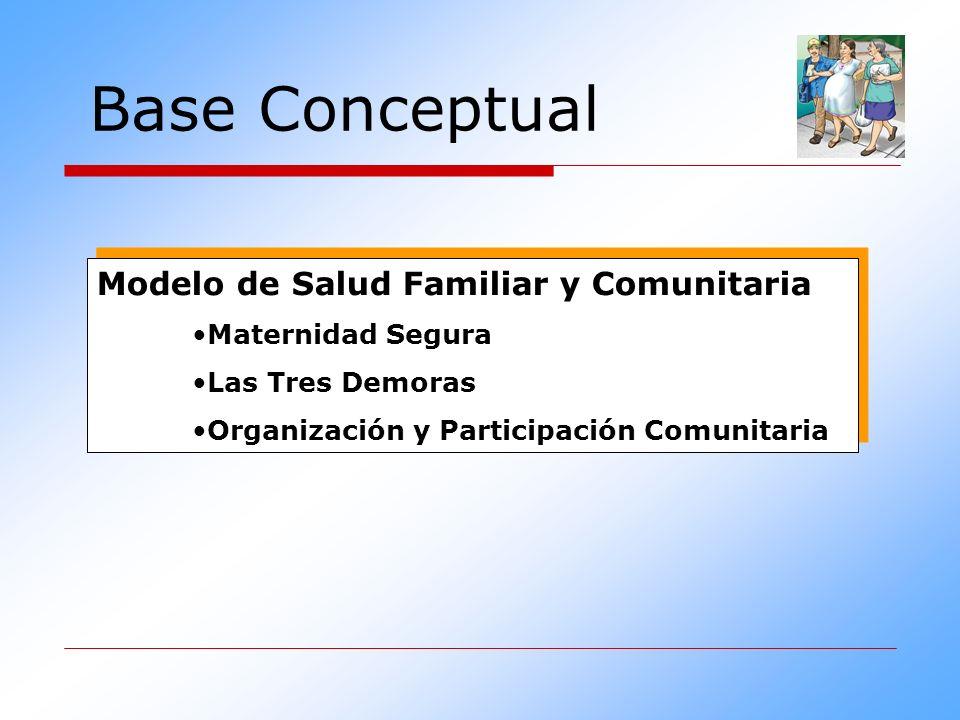 Base Conceptual Modelo de Salud Familiar y Comunitaria Maternidad Segura Las Tres Demoras Organización y Participación Comunitaria Modelo de Salud Fam