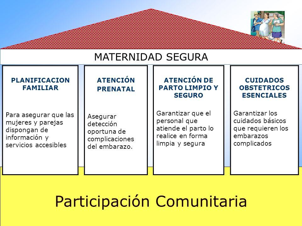 Participación Comunitaria MATERNIDAD SEGURA PLANIFICACION FAMILIAR Para asegurar que las mujeres y parejas dispongan de información y servicios accesi