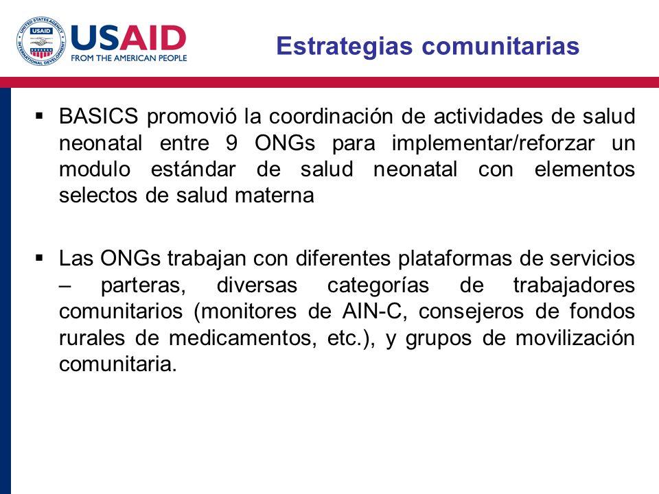 Estrategias comunitarias BASICS promovió la coordinación de actividades de salud neonatal entre 9 ONGs para implementar/reforzar un modulo estándar de