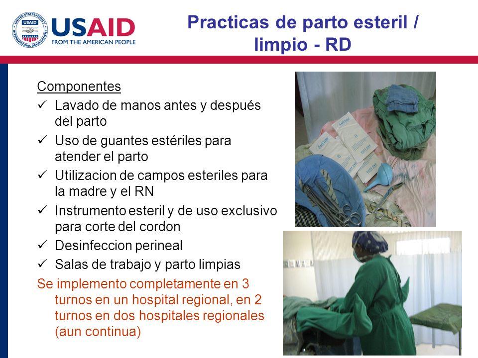 Sostenible tres turnos Practicas de parto esteril / limpio - RD Componentes Lavado de manos antes y después del parto Uso de guantes estériles para at