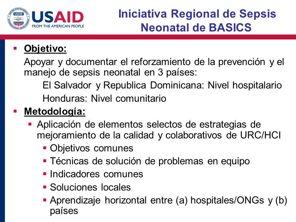 Iniciativa Regional de Sepsis Neonatal de BASICS Objetivo: Apoyar y documentar el reforzamiento de la prevención y el manejo de sepsis neonatal en 3 p