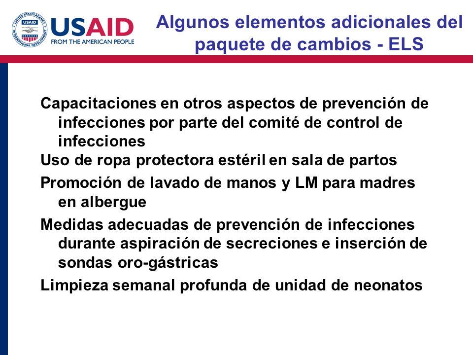 Algunos elementos adicionales del paquete de cambios - ELS Capacitaciones en otros aspectos de prevención de infecciones por parte del comité de contr