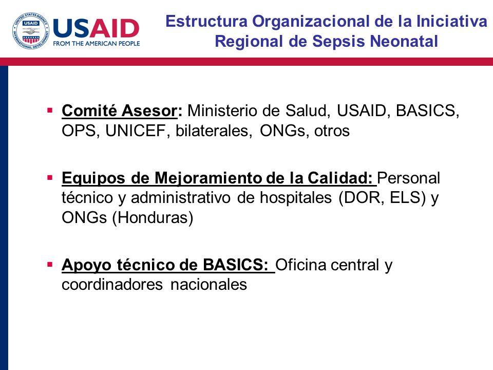 Estructura Organizacional de la Iniciativa Regional de Sepsis Neonatal Comité Asesor: Ministerio de Salud, USAID, BASICS, OPS, UNICEF, bilaterales, ONGs, otros Equipos de Mejoramiento de la Calidad: Personal técnico y administrativo de hospitales (DOR, ELS) y ONGs (Honduras) Apoyo técnico de BASICS: Oficina central y coordinadores nacionales