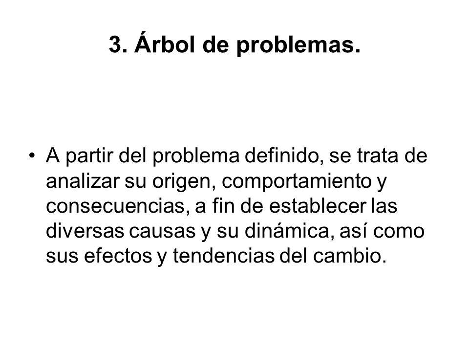 3. Árbol de problemas. A partir del problema definido, se trata de analizar su origen, comportamiento y consecuencias, a fin de establecer las diversa