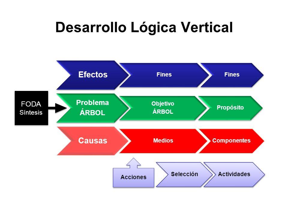 Efectos Fines Problema ÁRBOL Objetivo ÁRBOL Propósito Causas MediosComponentes Acciones SelecciónActividades FODA Síntesis FODA Síntesis Desarrollo Ló