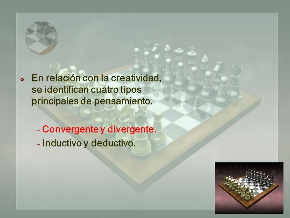 En relación con la creatividad, se identifican cuatro tipos principales de pensamiento.