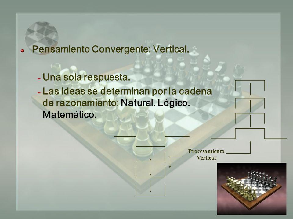Pensamiento Convergente: Vertical. – Una sola respuesta.