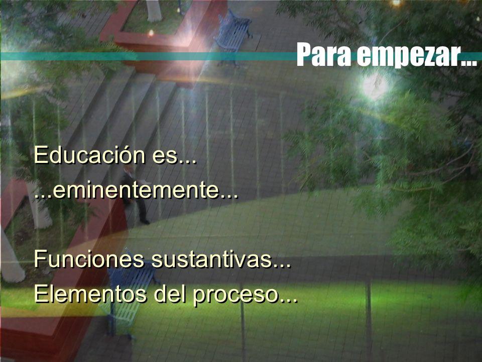 Para empezar... Educación es......eminentemente... Funciones sustantivas... Elementos del proceso... Educación es......eminentemente... Funciones sust