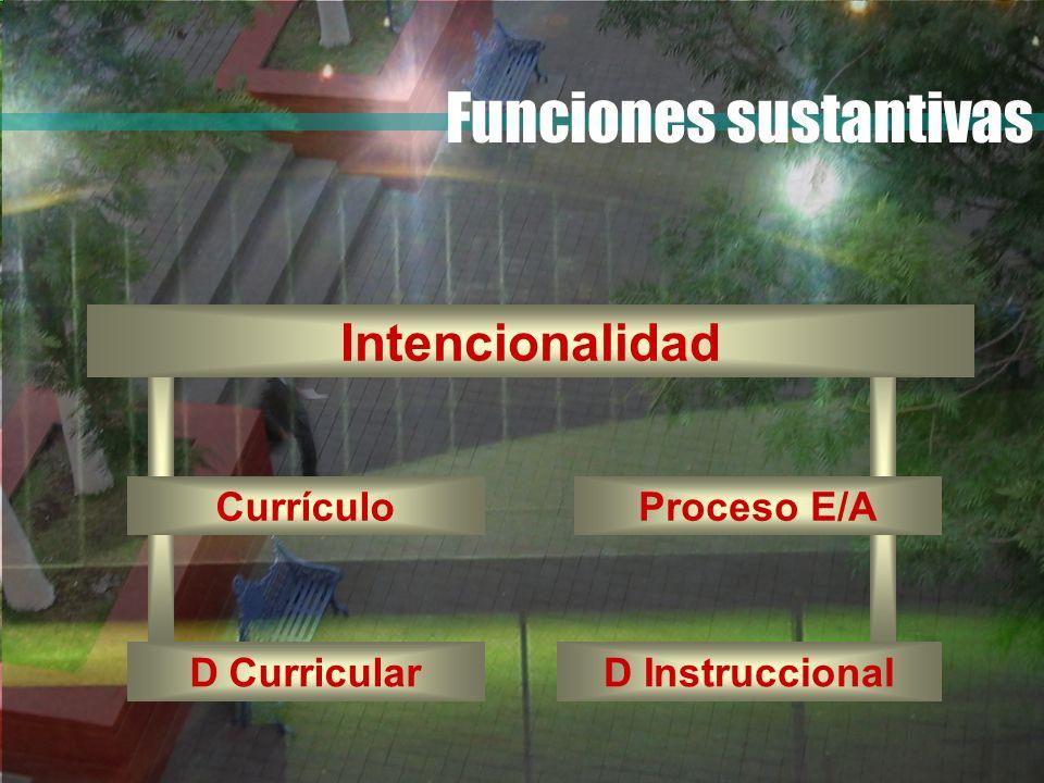 Intencionalidad Currículo D CurricularD Instruccional Proceso E/A Funciones sustantivas