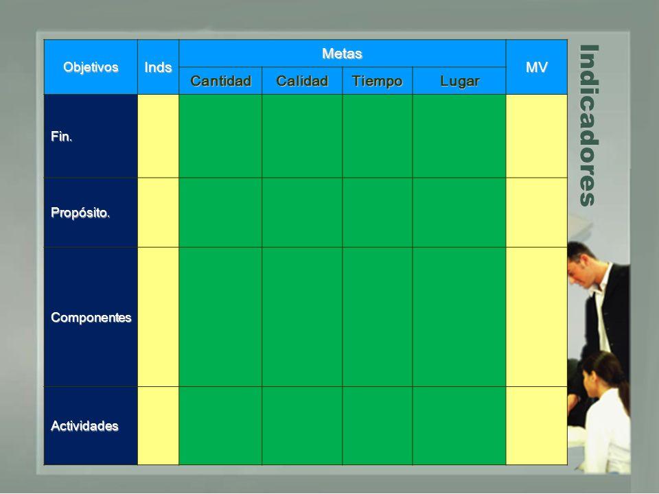 Indicadores ObjetivosInds Metas MV CantidadCalidadTiempoLugar Fin. Propósito. Componentes Actividades