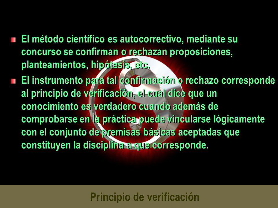 Principio de verificación El método científico es autocorrectivo, mediante su concurso se confirman o rechazan proposiciones, planteamientos, hipótesi