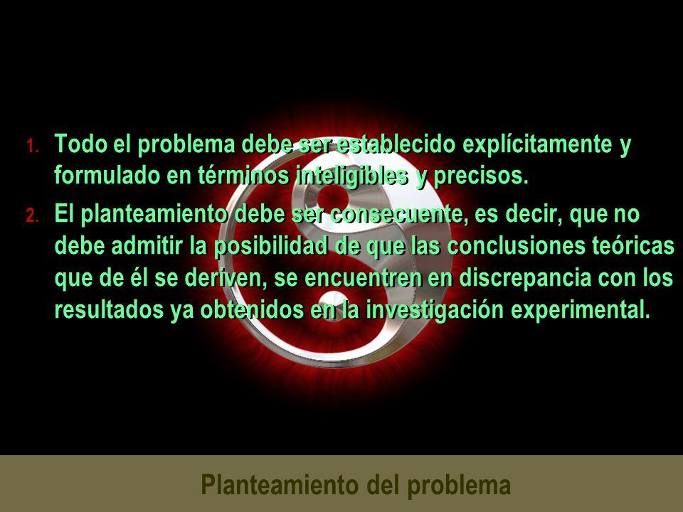 Planteamiento del problema 1. Todo el problema debe ser establecido explícitamente y formulado en términos inteligibles y precisos. 2. El planteamient