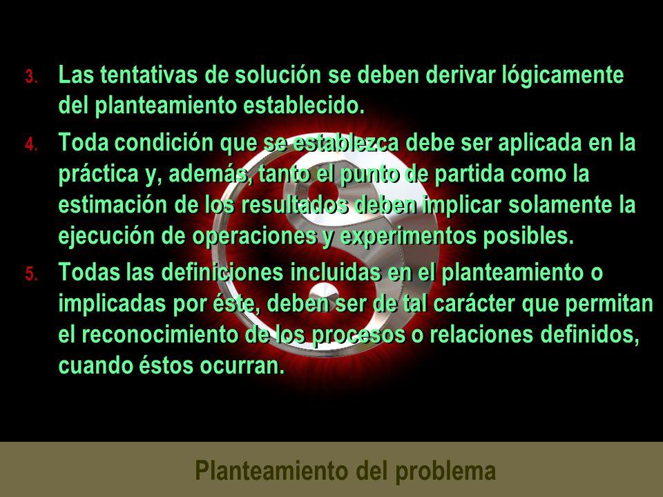 Planteamiento del problema 3. Las tentativas de solución se deben derivar lógicamente del planteamiento establecido. 4. Toda condición que se establez