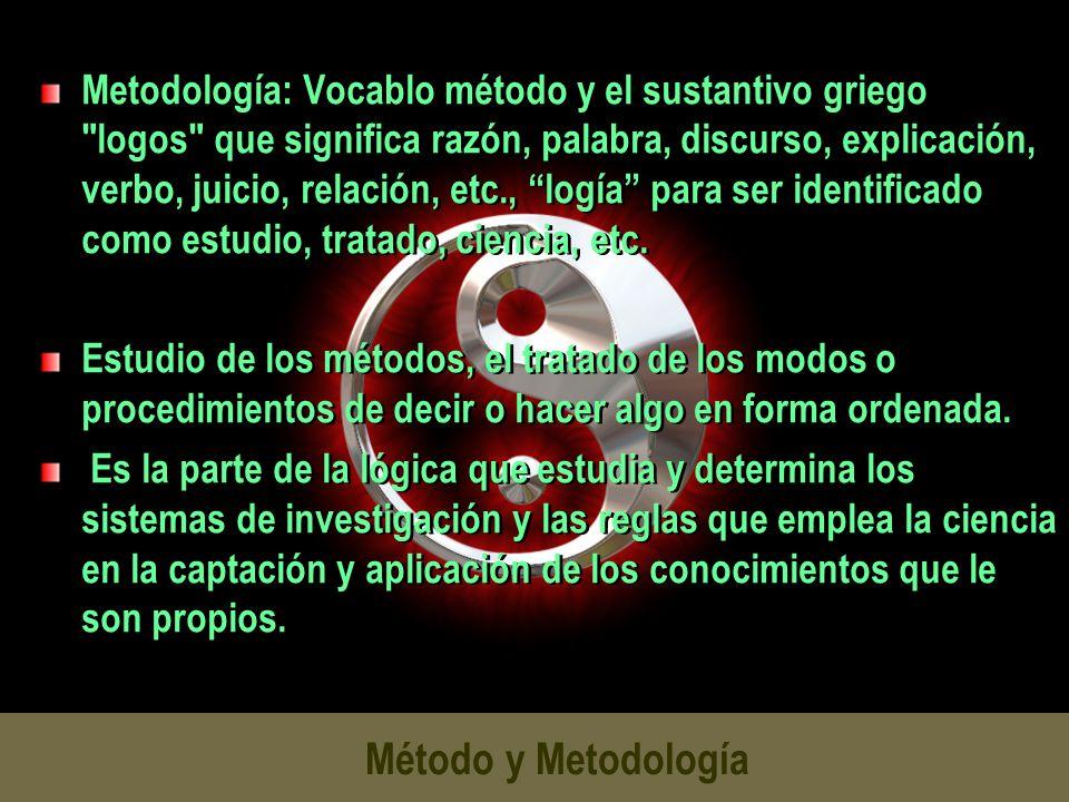 Método y Metodología Metodología: Vocablo método y el sustantivo griego