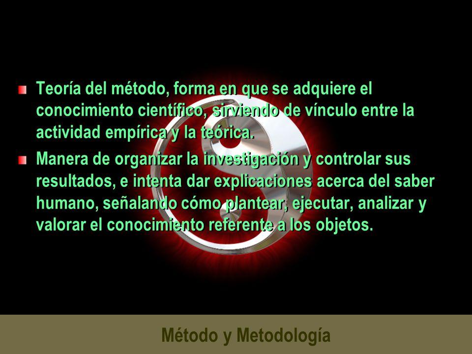 Método y Metodología Teoría del método, forma en que se adquiere el conocimiento científico, sirviendo de vínculo entre la actividad empírica y la teó