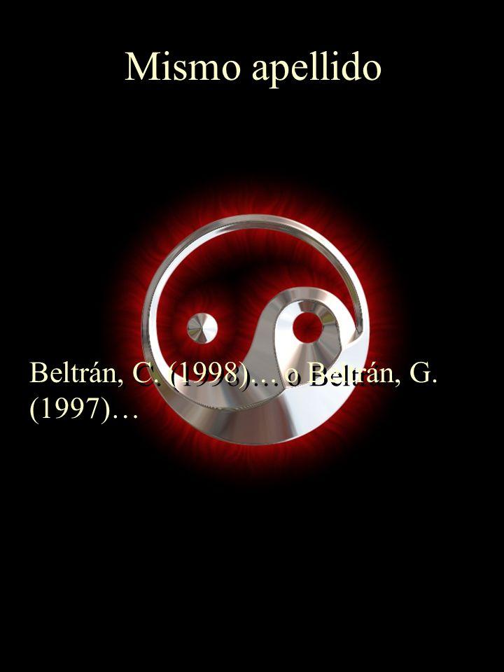 Mismo apellido Beltrán, C. (1998)… o Beltrán, G. (1997)…