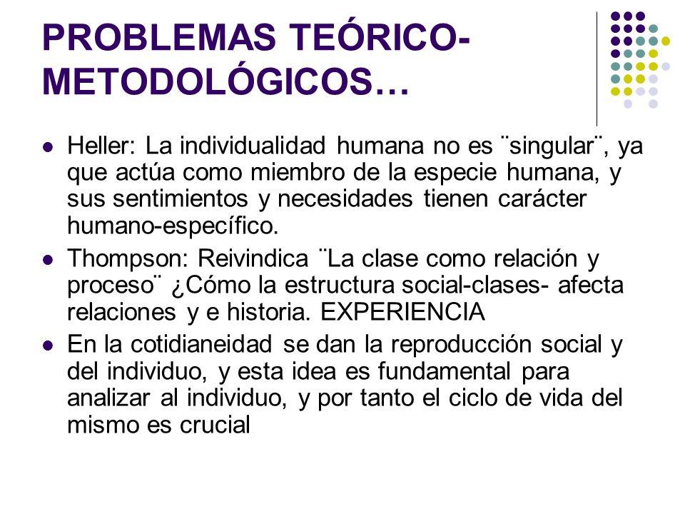 PROBLEMAS TEÓRICO- METODOLÓGICOS… Heller: La individualidad humana no es ¨singular¨, ya que actúa como miembro de la especie humana, y sus sentimiento