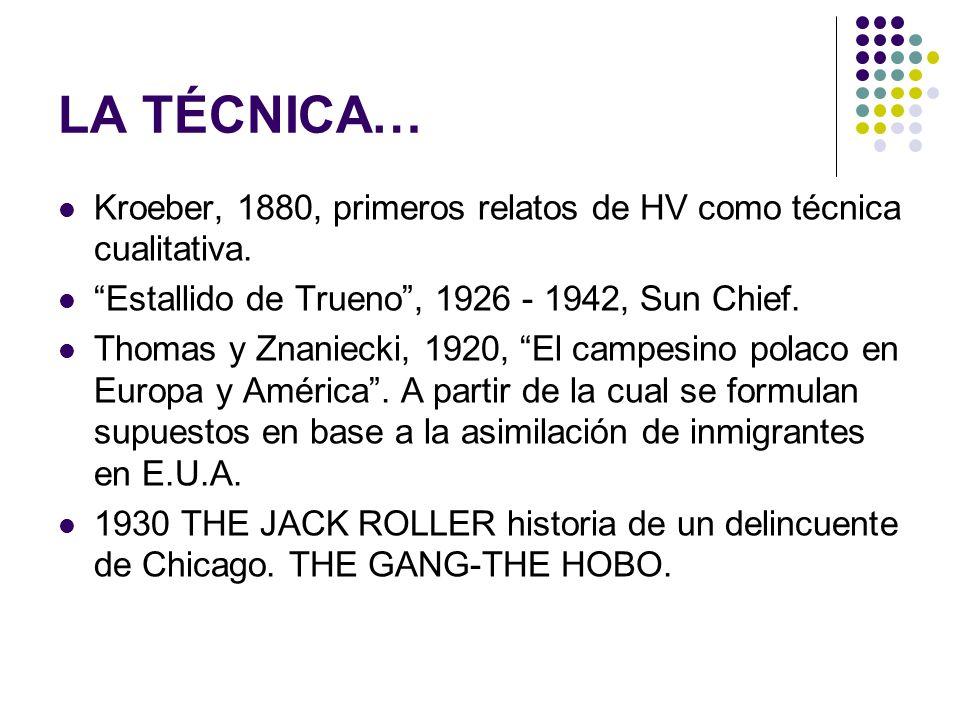 LA TÉCNICA… Kroeber, 1880, primeros relatos de HV como técnica cualitativa. Estallido de Trueno, 1926 - 1942, Sun Chief. Thomas y Znaniecki, 1920, El