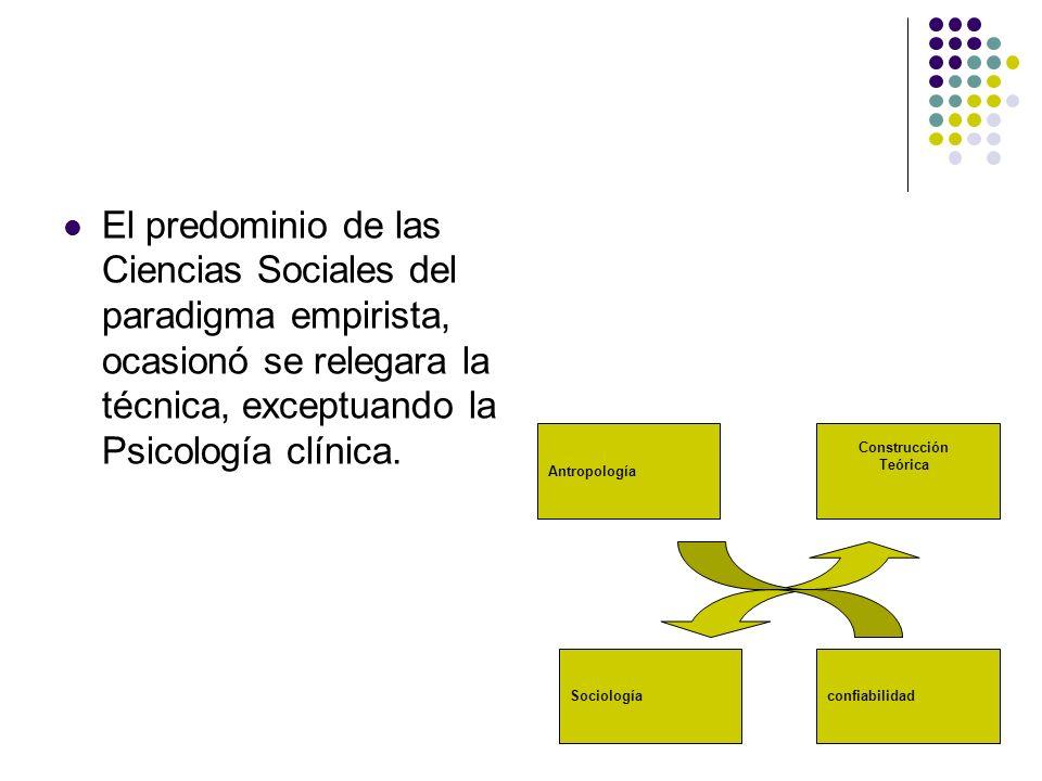 El predominio de las Ciencias Sociales del paradigma empirista, ocasionó se relegara la técnica, exceptuando la Psicología clínica. Antropología Socio
