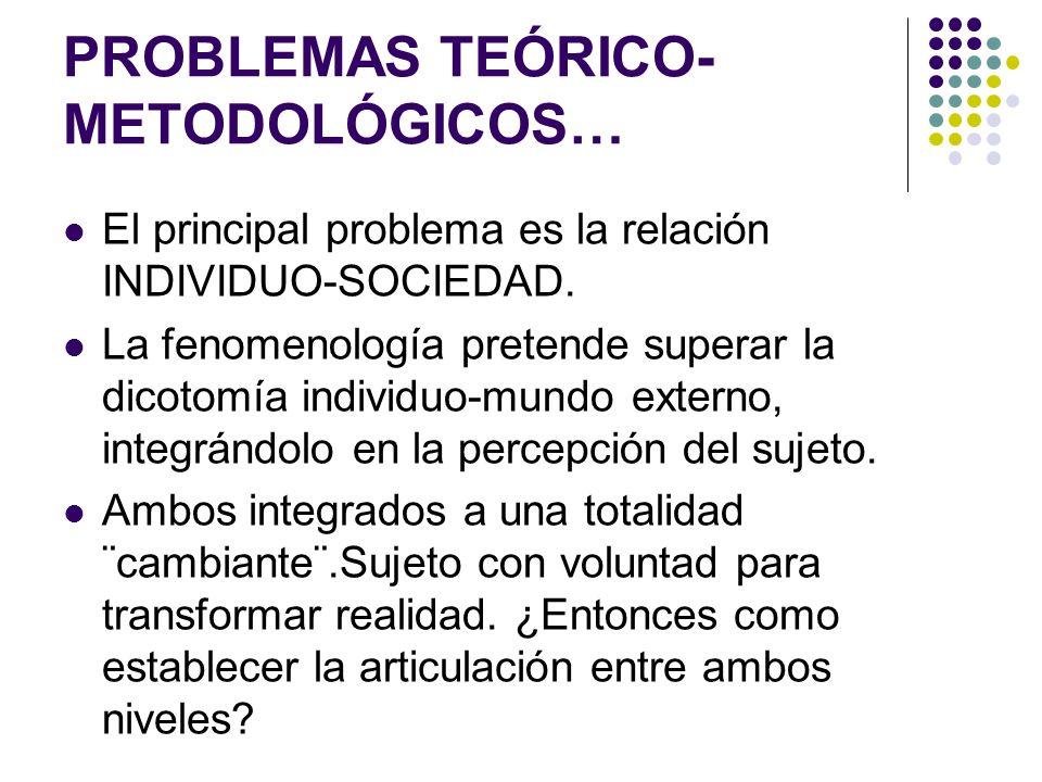 PROBLEMAS TEÓRICO- METODOLÓGICOS… El principal problema es la relación INDIVIDUO-SOCIEDAD. La fenomenología pretende superar la dicotomía individuo-mu