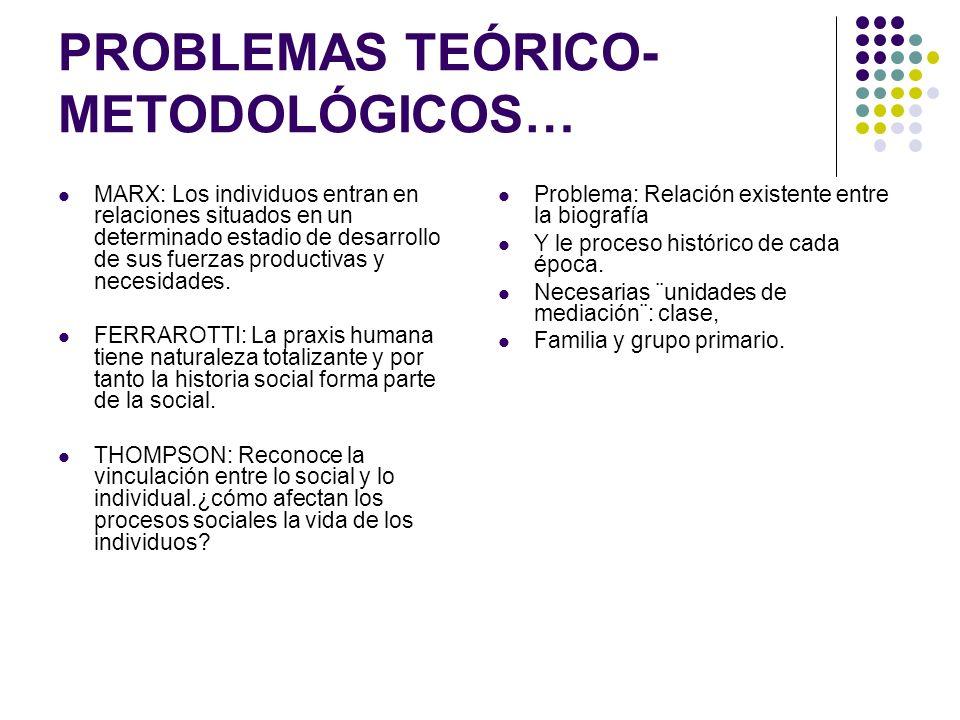 PROBLEMAS TEÓRICO- METODOLÓGICOS… MARX: Los individuos entran en relaciones situados en un determinado estadio de desarrollo de sus fuerzas productiva