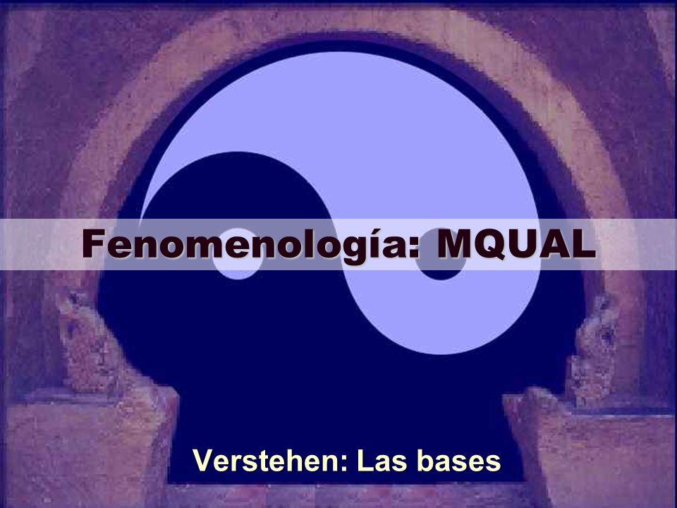 Fenomenología: MQUAL Verstehen: Las bases