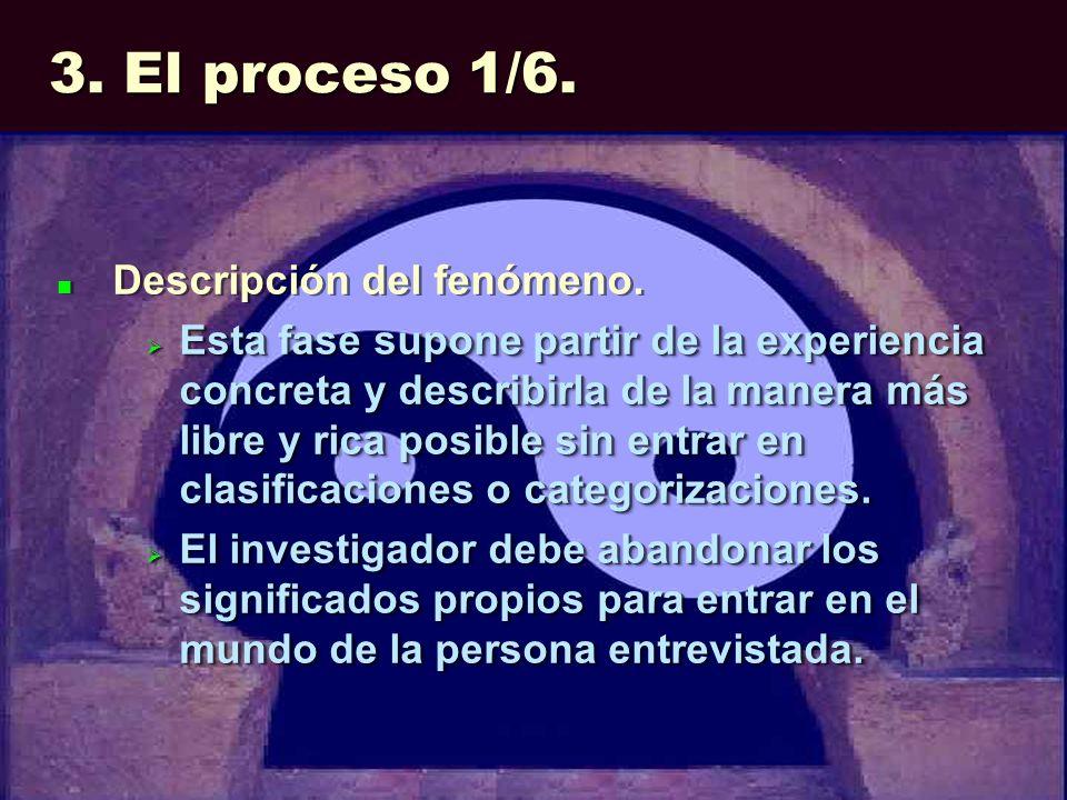 3. El proceso 1/6. Descripción del fenómeno. Esta fase supone partir de la experiencia concreta y describirla de la manera más libre y rica posible si
