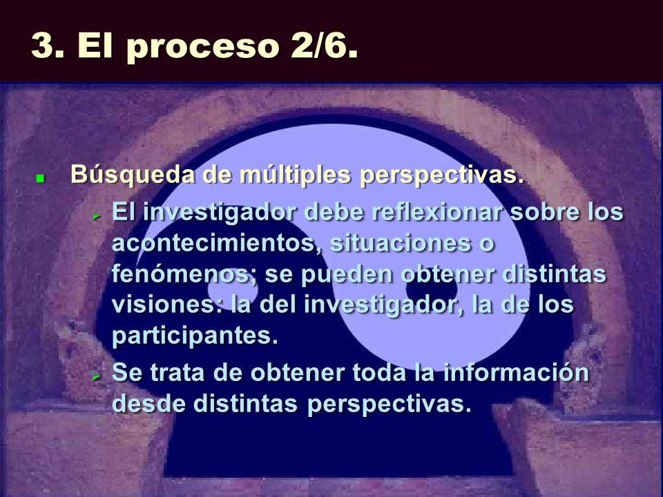 3. El proceso 2/6. Búsqueda de múltiples perspectivas. El investigador debe reflexionar sobre los acontecimientos, situaciones o fenómenos; se pueden