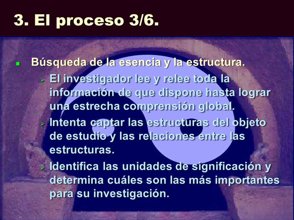 3. El proceso 3/6. Búsqueda de la esencia y la estructura. El investigador lee y relee toda la información de que dispone hasta lograr una estrecha co