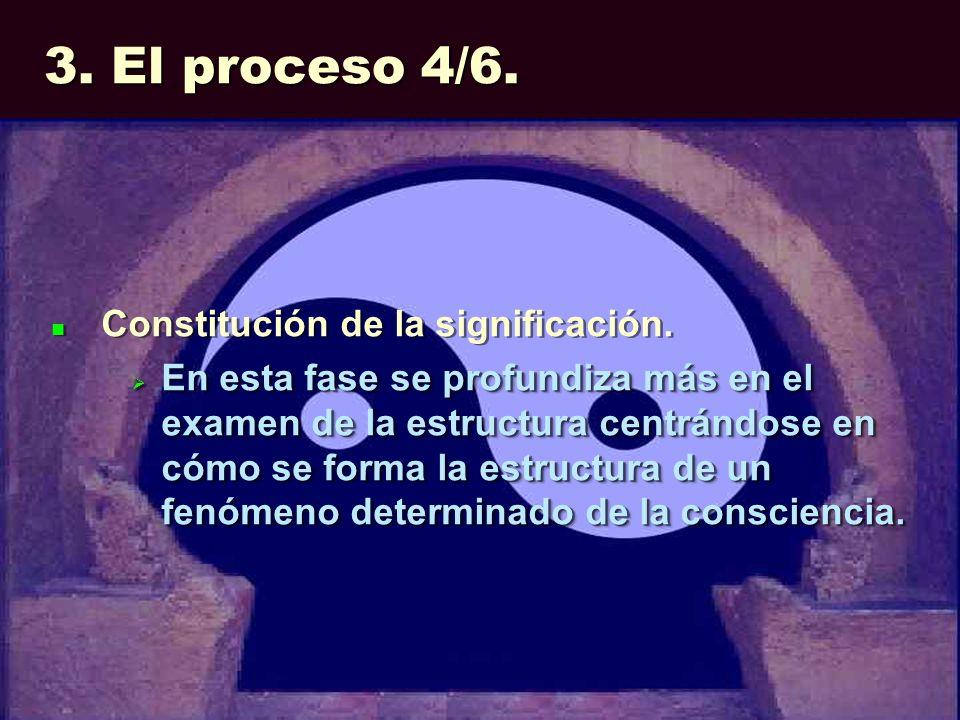 3. El proceso 4/6. Constitución de la significación. En esta fase se profundiza más en el examen de la estructura centrándose en cómo se forma la estr