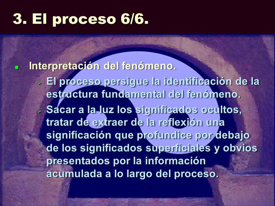 3. El proceso 6/6. Interpretación del fenómeno. El proceso persigue la identificación de la estructura fundamental del fenómeno. El proceso persigue l
