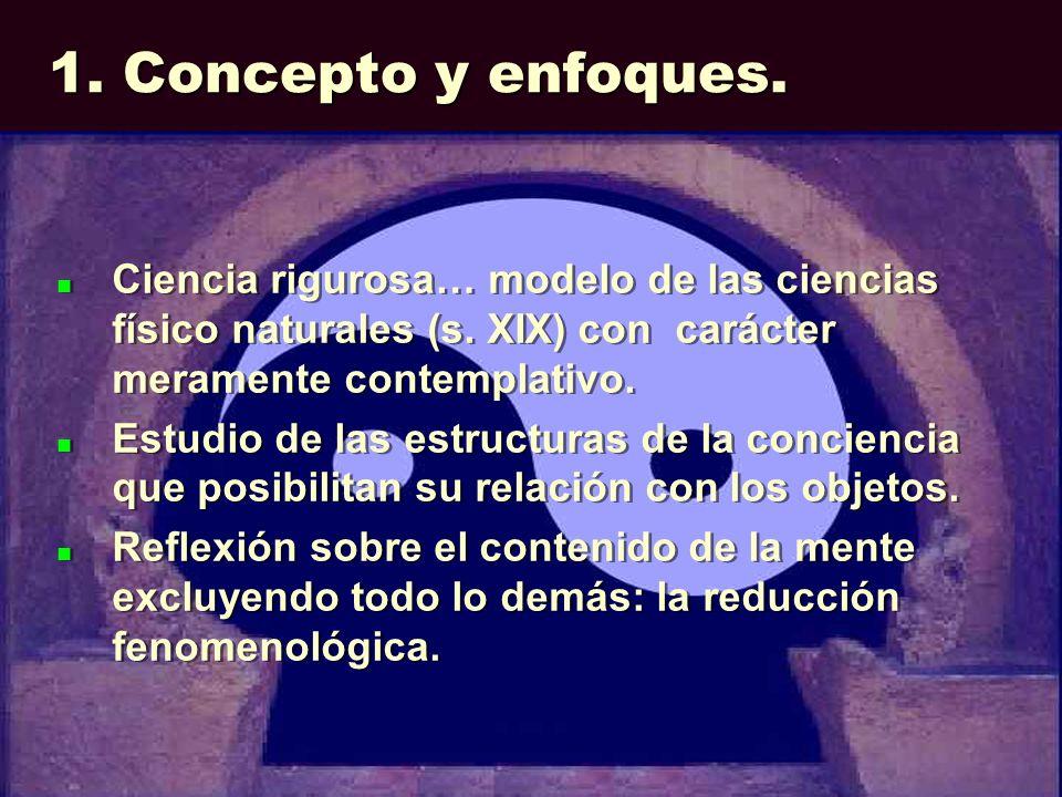 1. Concepto y enfoques. Ciencia rigurosa… modelo de las ciencias físico naturales (s. XIX) con carácter meramente contemplativo. Estudio de las estruc